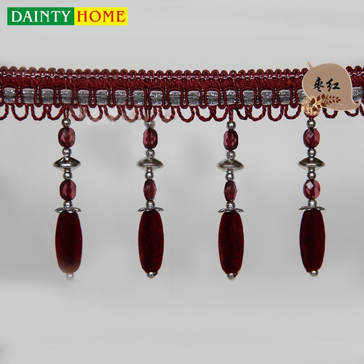 9.20 Beautiful Beaded Cloth Belt Curtains Beads Fringe Tassel For Curtain