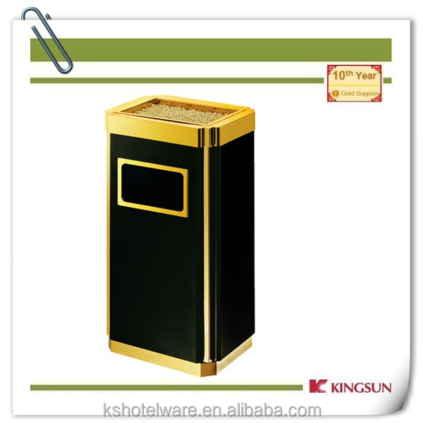 titanium gold outdoor wastebin wholesale with cover