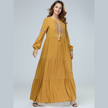 Middle Eastern Muslim Embroidered Long Swing Dress Islamic Arab Clothing Casual Oversize Girl Kaftan Dresses