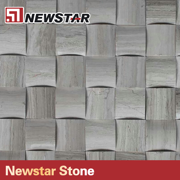 3d Wooden White Wooden Marble Mosaic polished