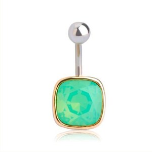 Wholesale Punk Rhinestone Square Navel Button Rings Gold Belly Bar Navel Body Piercing Jewelry