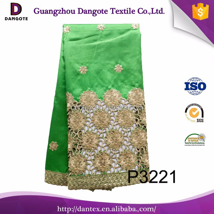 High quality African sequin beaded george for garment embroidery flower raw silk wrapper fabric