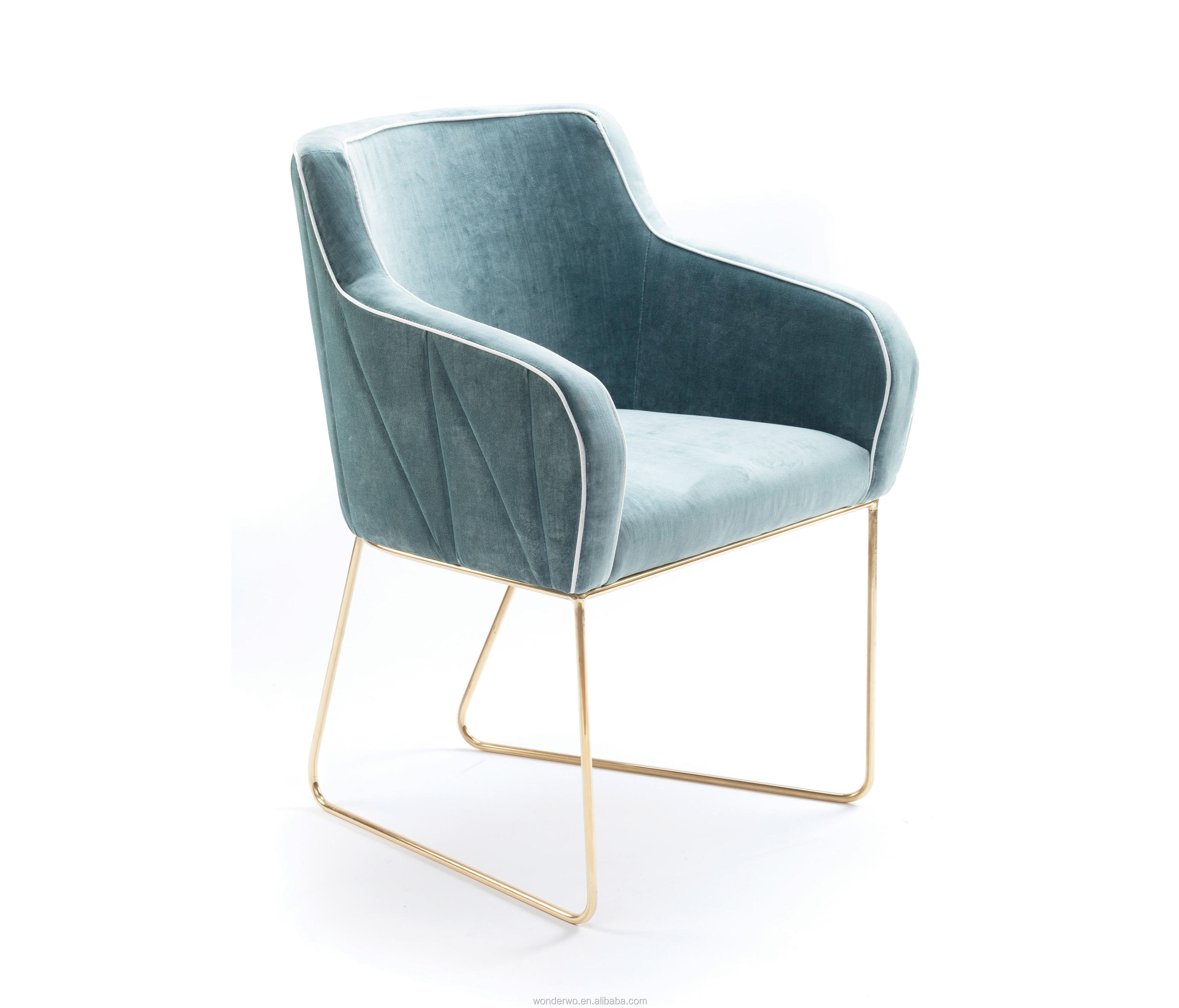 Modern Design Dining Chair Velvet Metal Chair Stainless Steel Gold