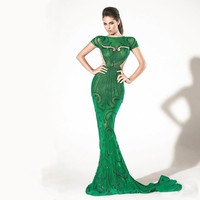 Beaded Design Alibaba Muslim Green Wedding Dresses 2015 Mermaid
