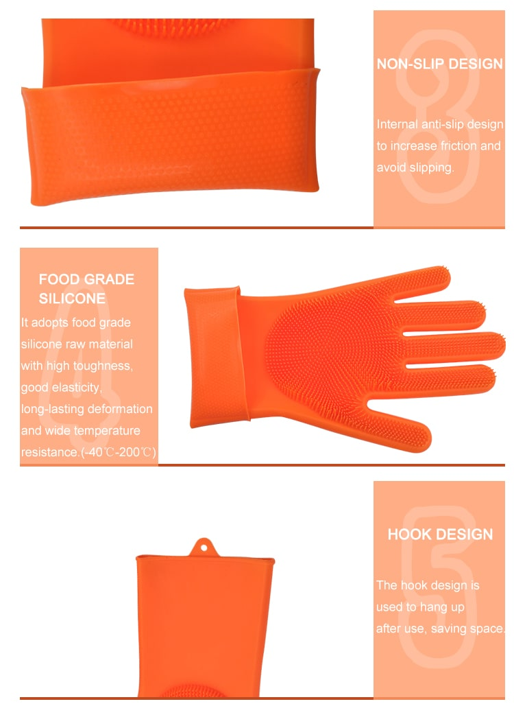 Pet Hair Care Magic Dish Washing Silicone Gloves With Scrubber