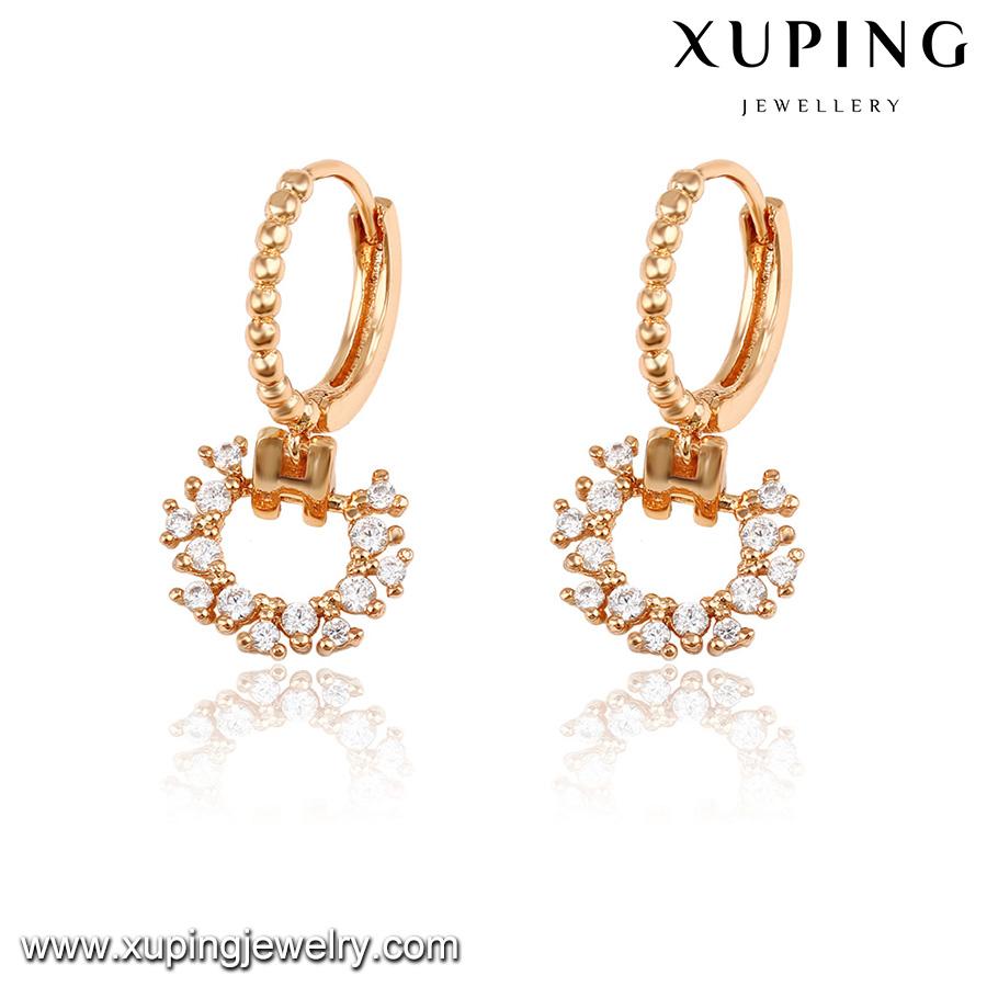 92187 Xuping 2016 New One Gram Gold Earrings Designs For Girls ...