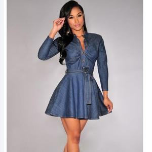 2018 Fashion Women Slim Fit Denim Party Denim Jeans Dress Sexy Long Sleeve Shirt Dresses with Bowknot Belt A244