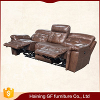 home theater two - tone color effect leather recliner seats high back sofa