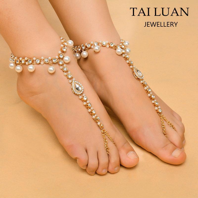 1 un moneda De Bohemia Pulseras Pulseras para mujeres Sandalias de joyería de los pies descalzos Cha