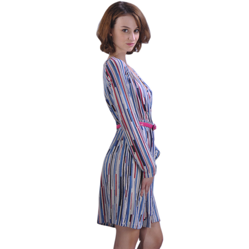 Colorful Straight Striped fitted fancy dress