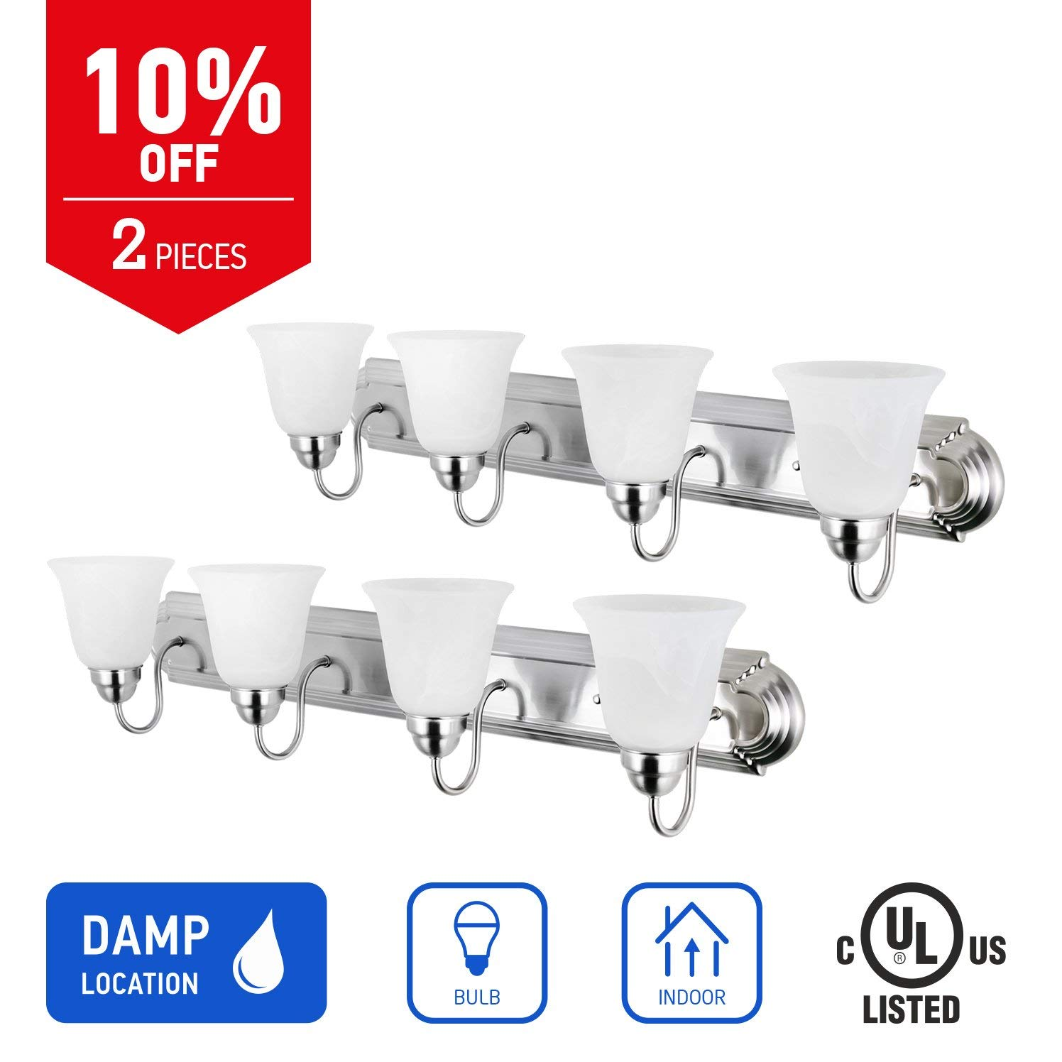 IN HOME 4-Light Bath Bar Light Up or Down, Interior Bathroom Vanity Wall Lighting Fixture VF43, 4x60 Watt E26 Socket, Brushed Nickel Finish with Alabaster Bell Glass Shade (2 Pack) UL Listed