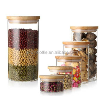 120ml coffee glass canister with wood lid/glass container with wood lid