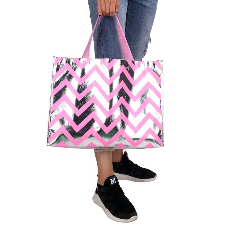 Bling Bling Shiny Streep Roze Stijlvolle Eco Herbruikbare Winkelen Kruidenier Bag Party Gift Bag non-woven Shopping Tote Bag