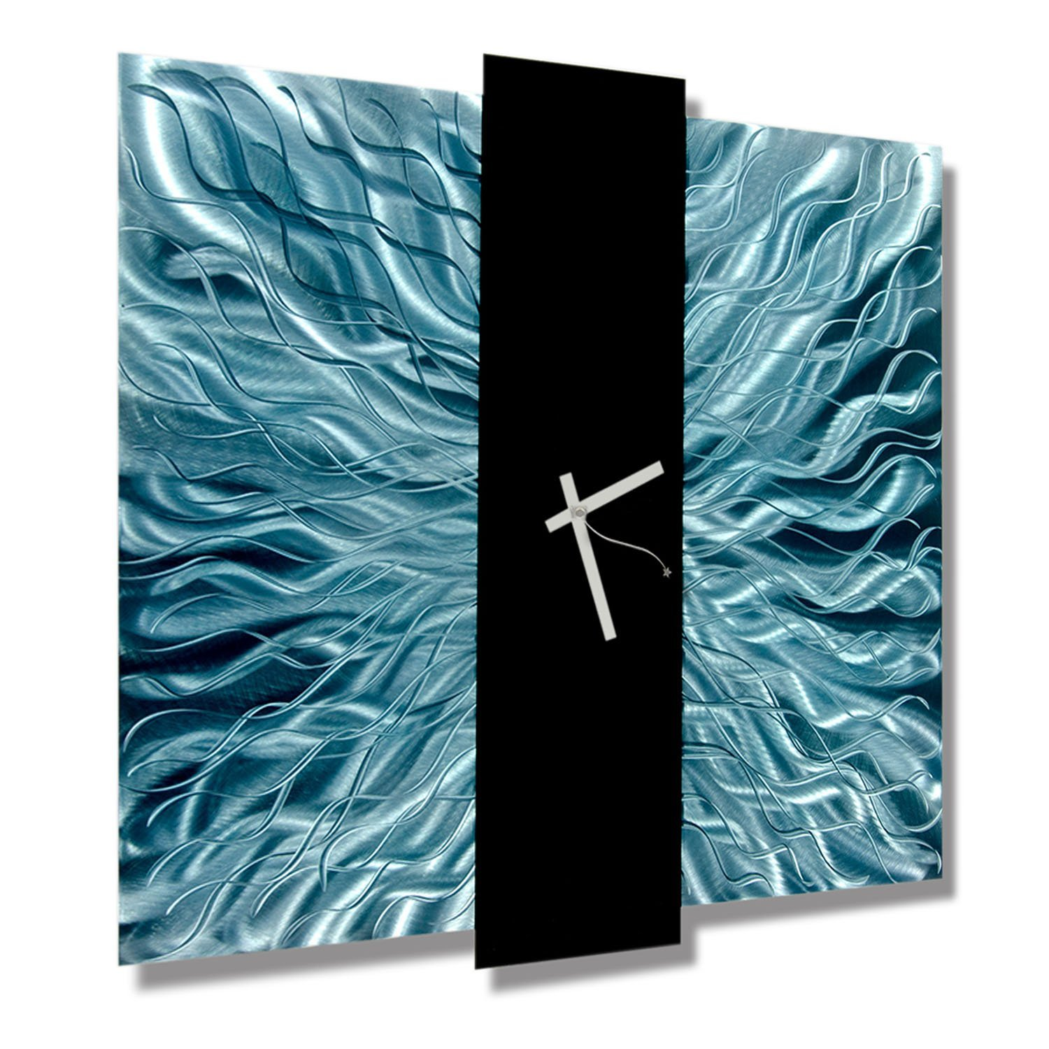 Abstract Teal and Black Hand-crafted Metal Wall Sculpture Clock - Contemporary Modern Colorful Home Office Decor Accent Art - Harmonious Mechanism by Jon Allen - 24-inch