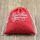 Custom Logo Red Drawstring Cotton Golf Ball Bag With Cotton String