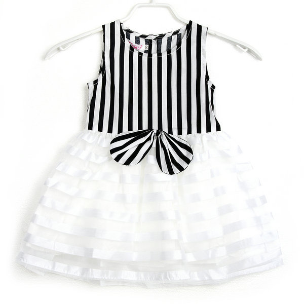 2016 Cute Kids Striped Tutu Bowknot Sleeveless font b Dress b font Baby Girls font b