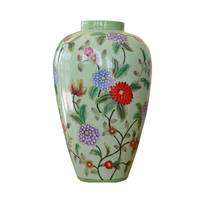 Home Decoration Living Room Hand Painted Ceramic Chinese Flower Vase