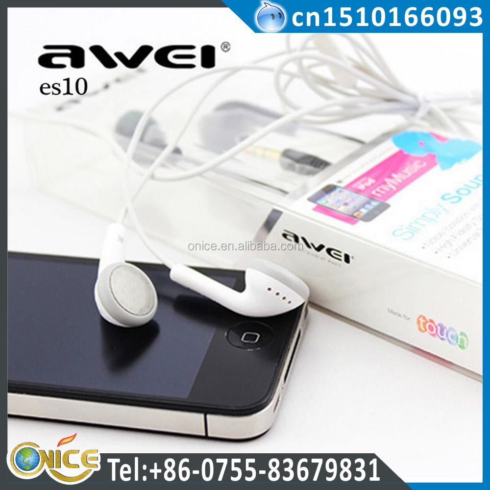 Original Awei ES10 In-Ear Headphones High Quality headset with microphone For Smartphones MP3/MP4 Clear Bass
