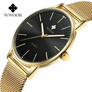 Luxury WWOOR brand gents timepieces unisex quartz fashion minimalist men wrist watch in stock metal mesh gold watch strap