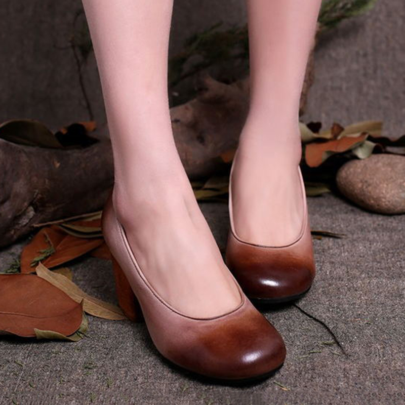 women toe shoes chunky heel leather shoes 2017 genuine round heel high pumps latest style xEw4qC0Y