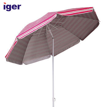 6ft Folded Standard Size Promotional Beach Umbrella With Tilt Portable Cabana Silver Coating Inside Uv Protection