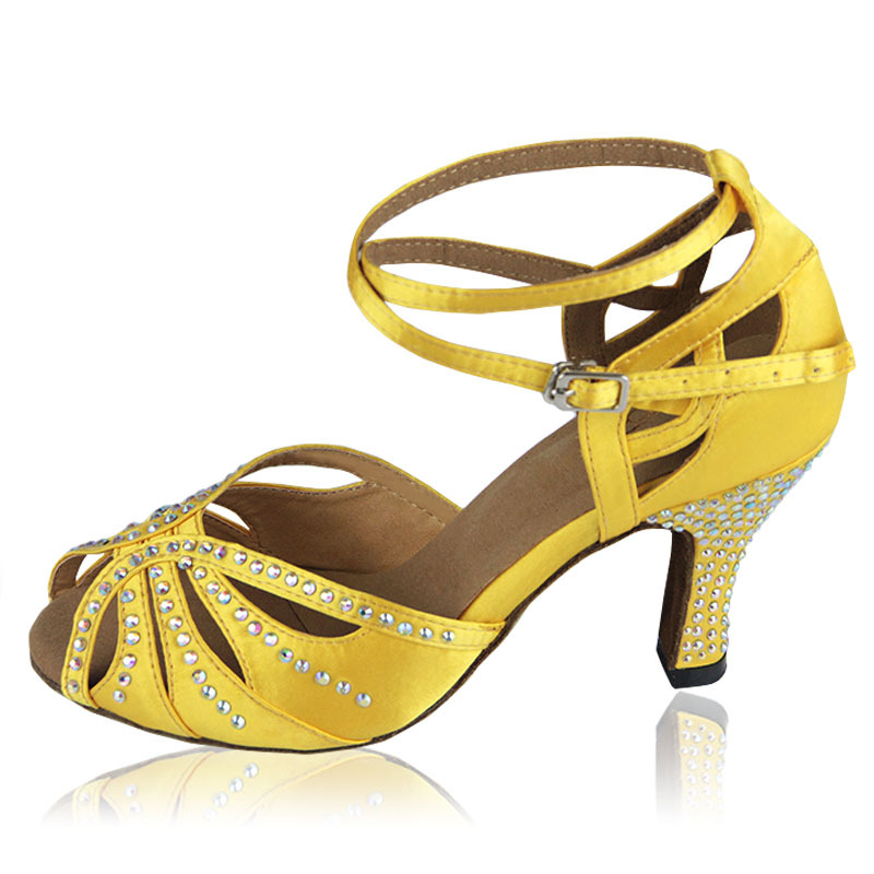 Get Quotations · Free Shipping 2015 Girls Women Rhinestone Yellow 8cm Heel  Latin Dance Shoes Salsa Party Dance Shoes 7b7705345baf