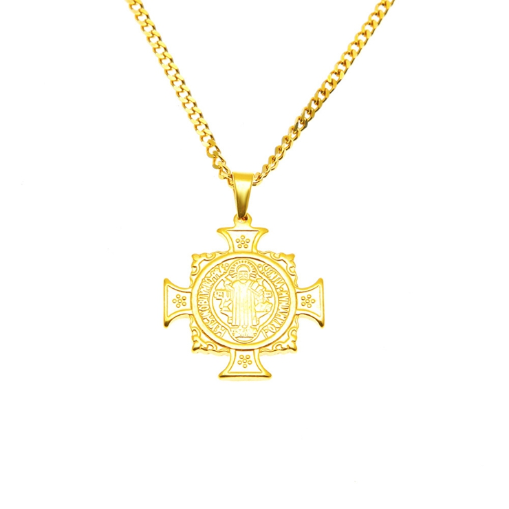 New design zinc alloy hiphop Jesus with Cross pendant 18k 14k gold plated necklace for men