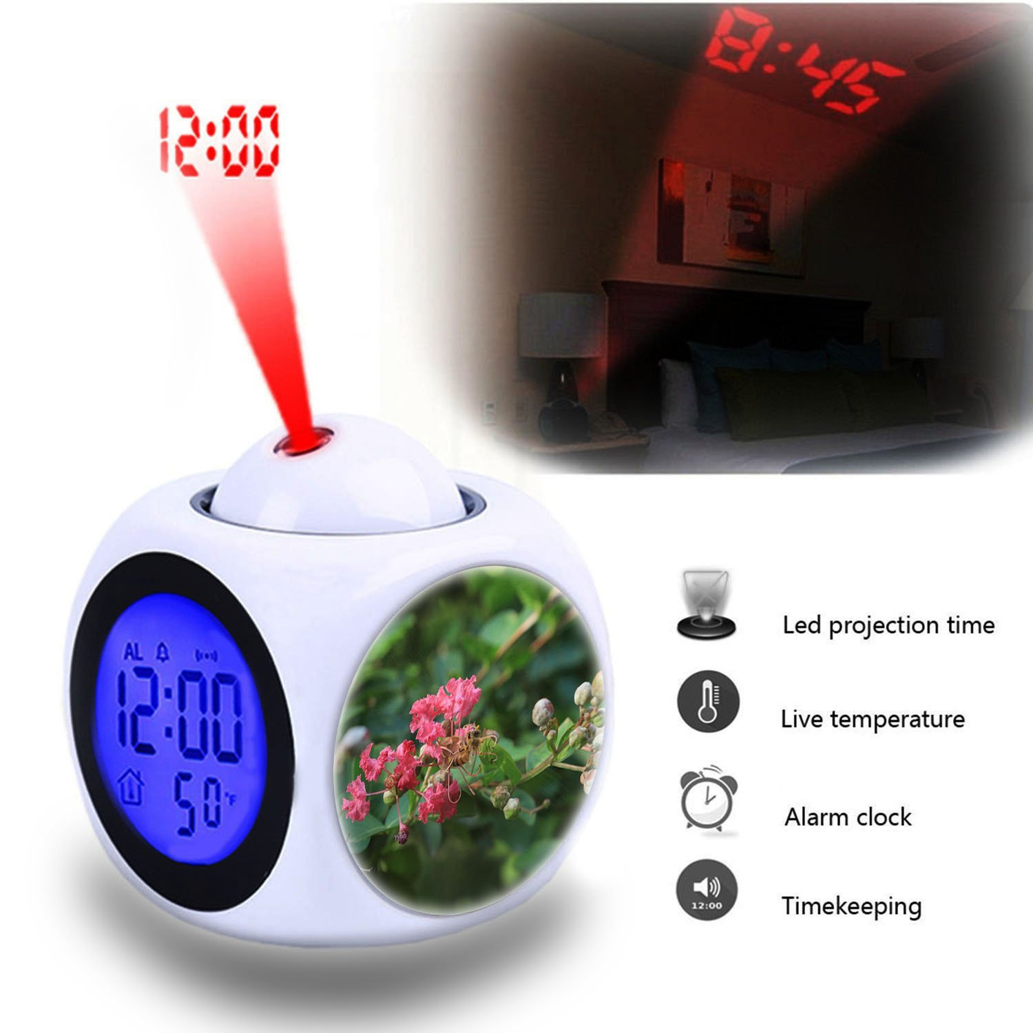 Projection Alarm Clock Wake Up Bedroom with Data and Temperature Display Talking Function, LED Wall/Ceiling Projection,Customize the pattern-062.Bee, Flower, Honey, Pink, Red, Plant, Plants, Tree