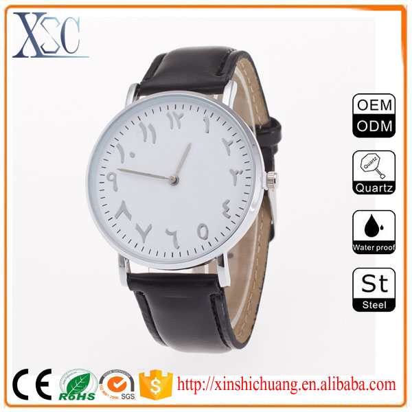 40MM stainless steel silver polish case custom minimalist watch genuine leather watch relojes de pared