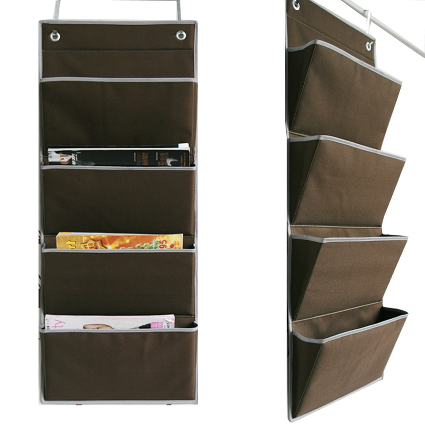 Microtimes Wall Mount Over The Door Oxford Fabric Collapsible File Organizer Hanging Folder Doent Bag Magazine Storage 4 Pockets Coffee In