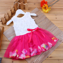 wholesale European and American fashion kids girls dresses Petal pearl puffy tutu princess dress