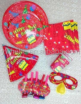 Birthday Supplies Set with Disposble Paper Cup Plate Napkin
