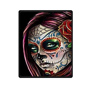 SOFTKIITY Blankets Design Sugar Skull And Flowers Blanket Fashion Warm Cozy Soft Sofa Bed Blankets Throws Blankets 58X80 Inches (Large)