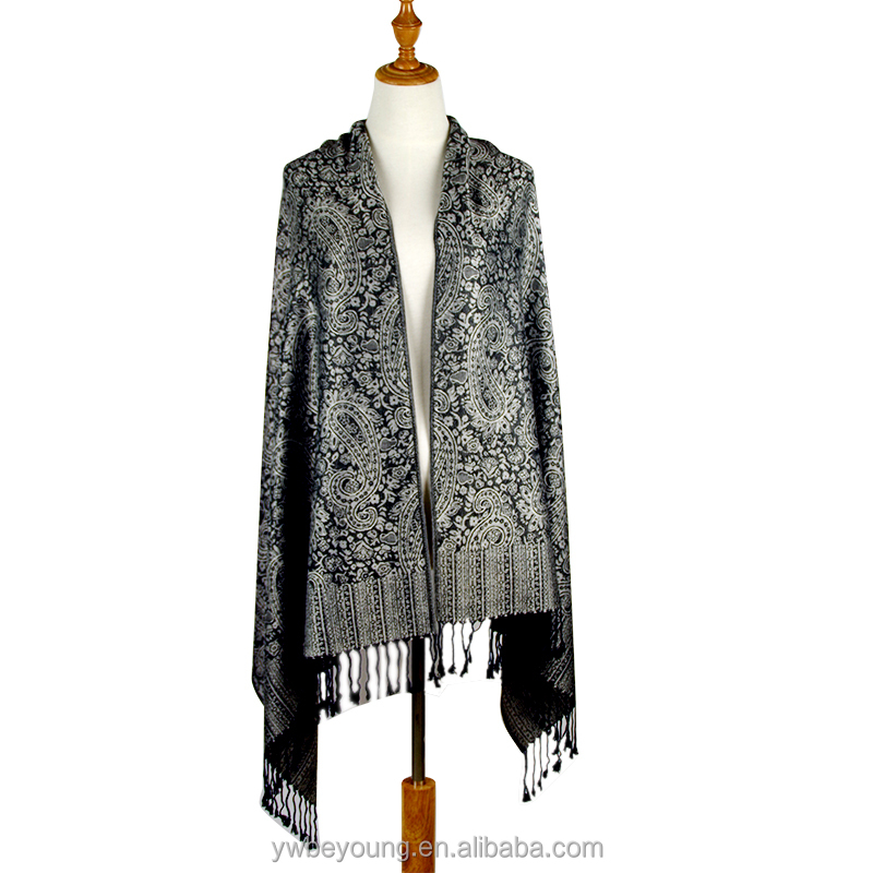 Wholesale Allover Paisley Jacquard Pashmina 12 color women Acrylic shawl scarf