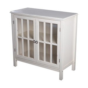 Classic Antique White Wood Entrance Console Table With Glass Showcase Cabinet