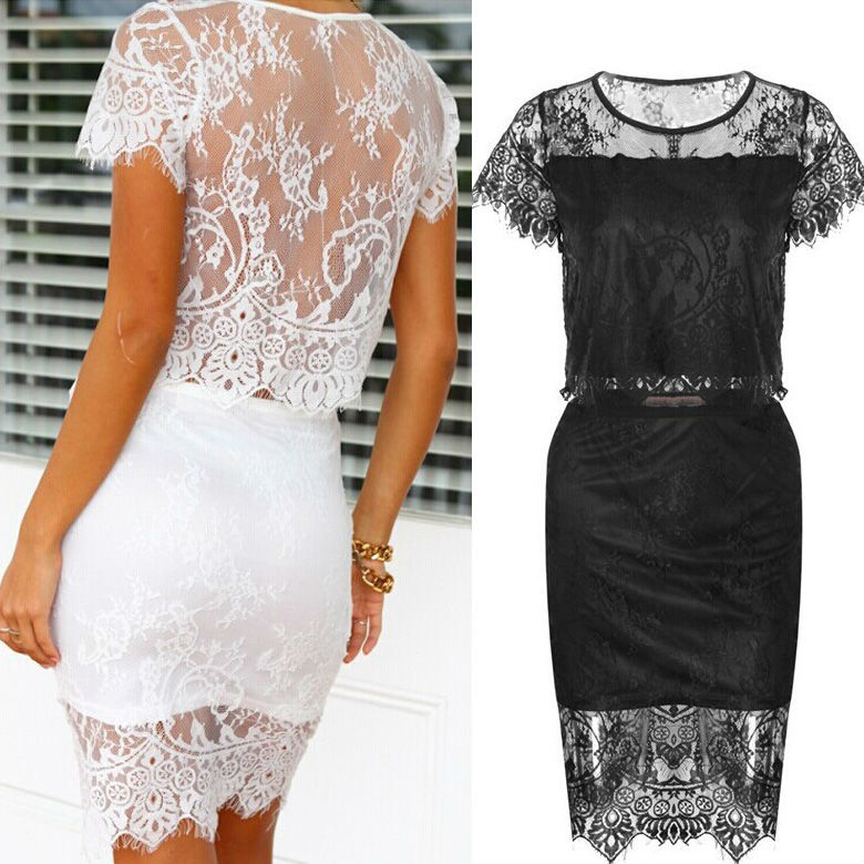 Wholesale onen Walson Ladies Lace Tops + Skirt 2 pcs Set fancy Lace Crop skirt top ZT005584