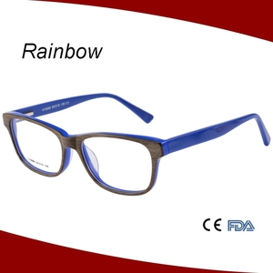 Attractive color wooden effect kid acetate eyeglasses for school children