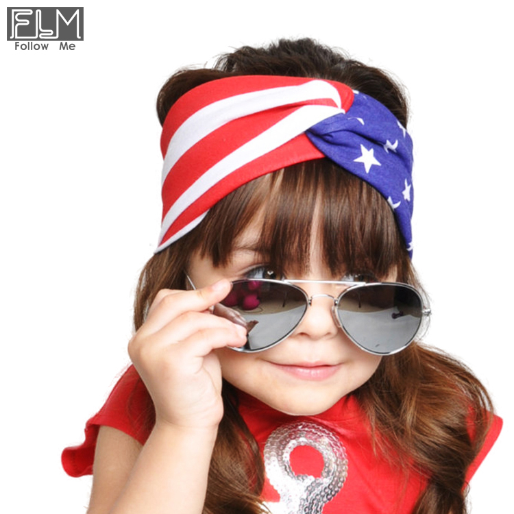 Wholesale 4th Of JULY Baby Fabric Headband For Girls Large Bowknot Kids Hair Accessories Rabbit Ears Head Bands Wrap Headbands