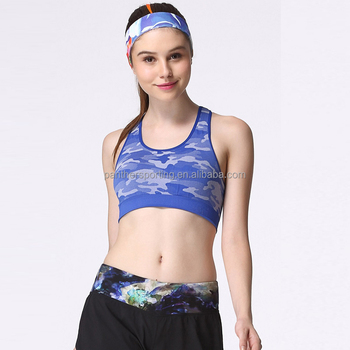 b8f3938351f60 Yoga Bra Sportswear Camo Print Push Up Running Sports Bra Top Padded  Training Workout Active Jogger