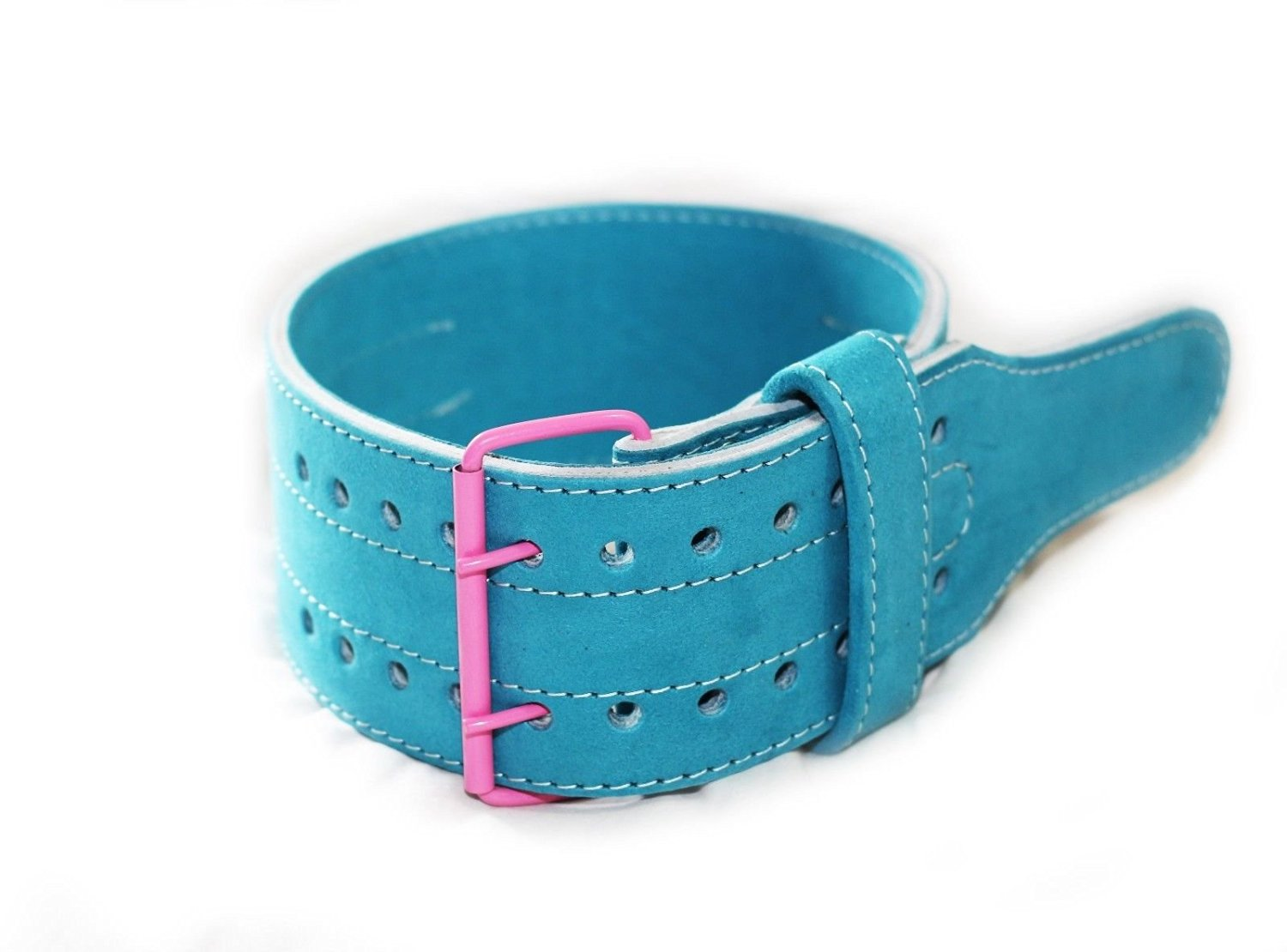 """Ultra Fitness Gear 4"""" Classic Leather Weight Lifting Belt - SKY Blue"""