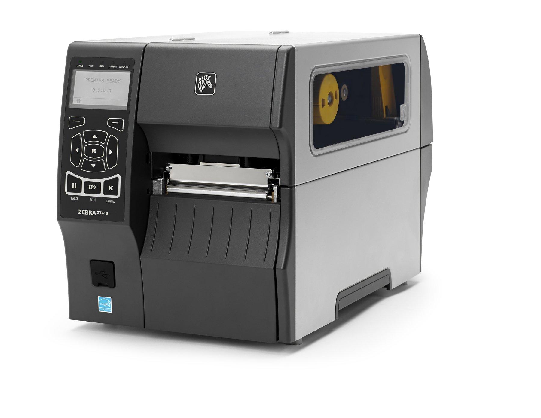 "Zebra Technologies ZT41046-T010000Z Series ZT410 4"" DT/TT Tabletop Printer, 600 dpi Resolution, Tear Bar, Power Cord with US Plug, USB 2.0/RS-232 Serial/10/100 Ethernet, Bluetooth 2.1, EZPL"