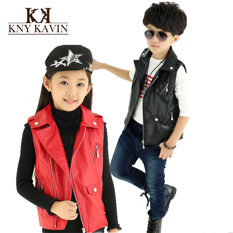 Children Vest! 2015 Autumn European Version Baby Black Leather Vest Cardigan Jacket Manteau Fille Free Shipping KU896