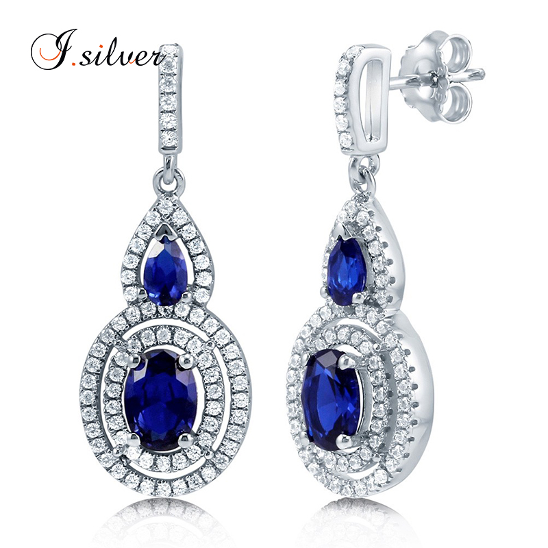 Sterling Silver Oval Simulated Blue Sapphire CZ Halo Dangle Earrings E50084