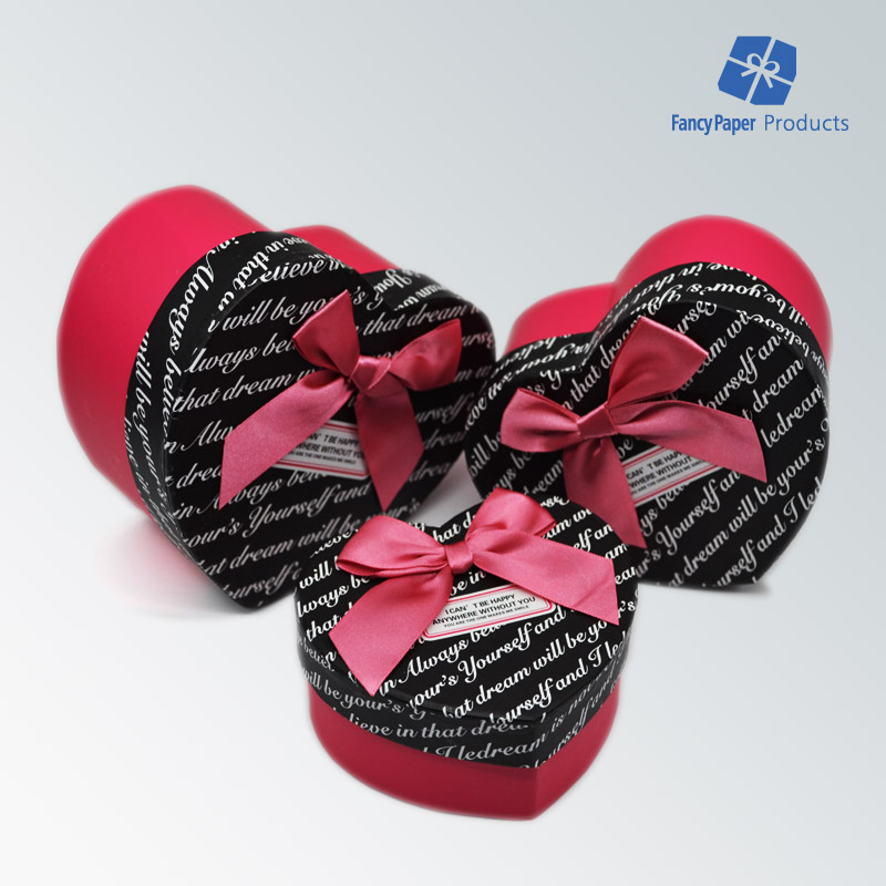 Manufacture 3 Pcs Rigid Box With Bowknot Best Dream Heart Shaped Gift Box