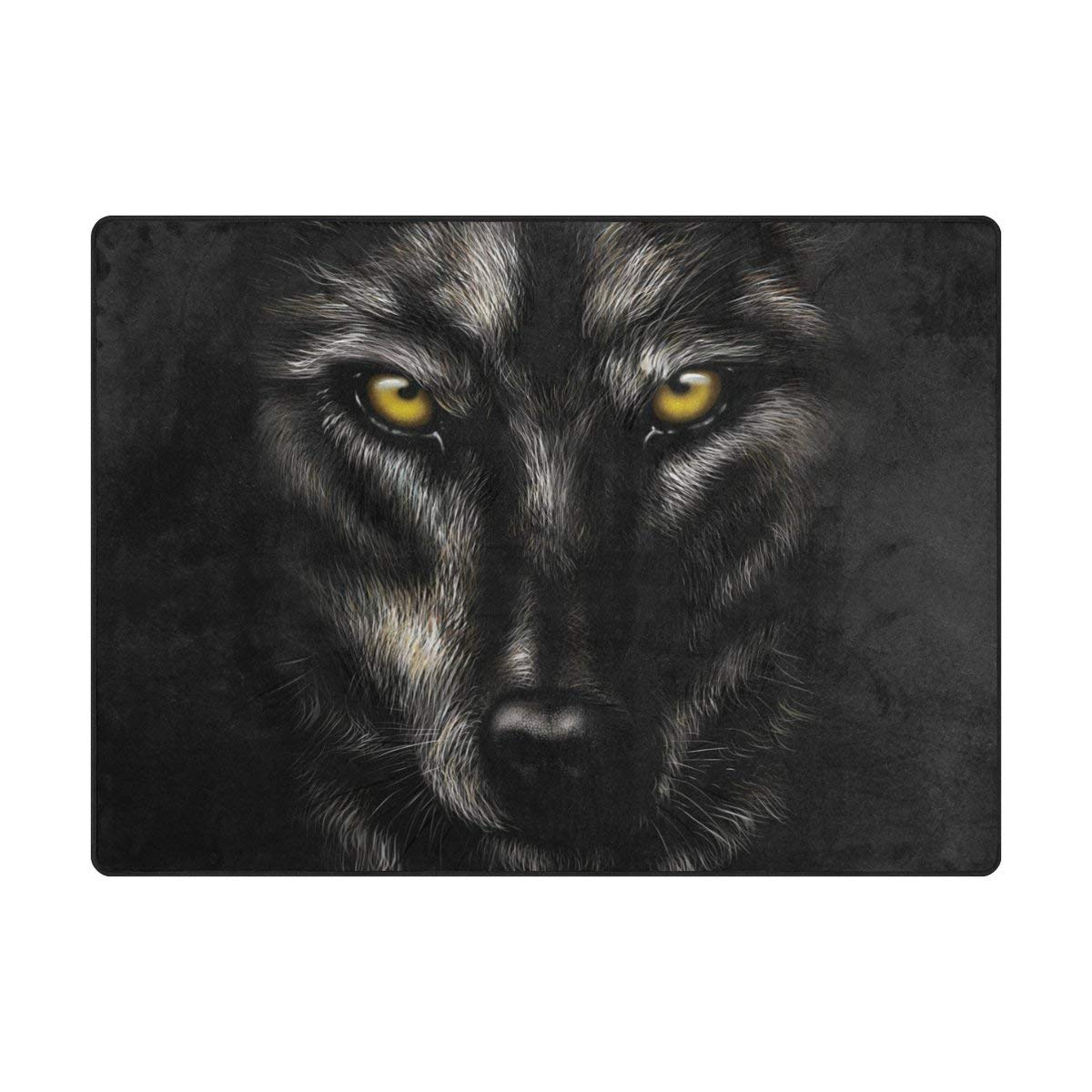Buy ALAZA Super Soft Modern Black Wolf Area Rugs Living Room ...