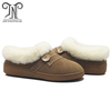 Wool lined leather women winter indoor slipper
