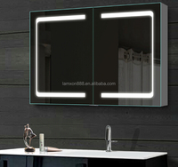 Lamxon Double door recessible backlit cabinet with soft close double sided mirror doors
