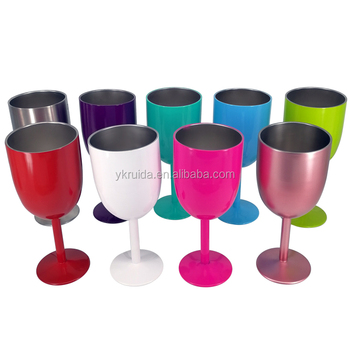 a04531609f2 Double Wall Stainless Steel Insulated Vacuum Color Wine Glass With Lid -  Buy Stainless Steel Wine Glass,Insulated Wine Glass,Stemless Wine Glass ...