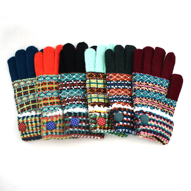 2015 Wholesale Yuhao Factory Winter Knit Gloves One Size Fits All ...