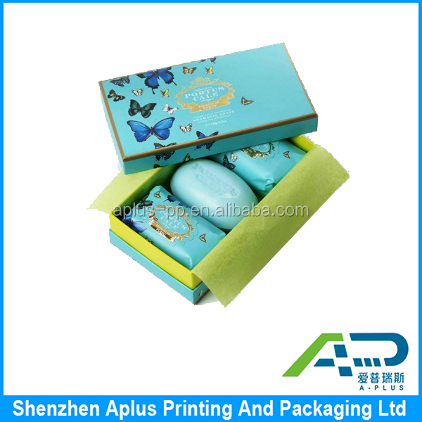Custom cardboard paper printed natural soap packaging box with lid top and bottom